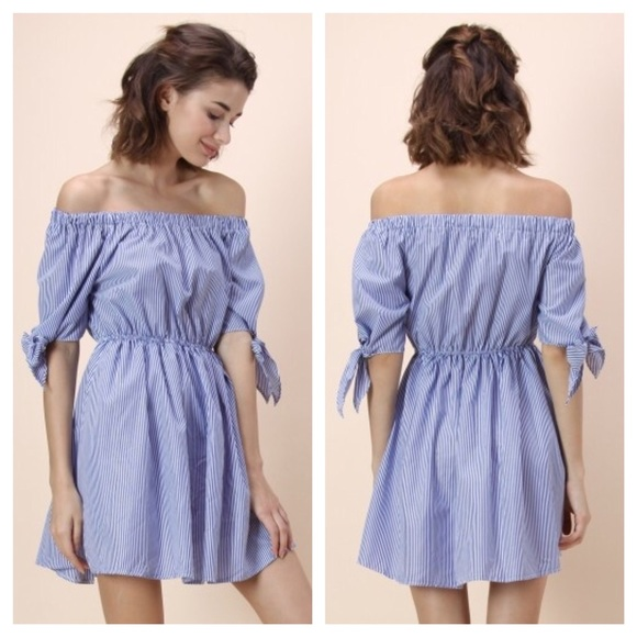 9aaa8e13396c ⬇  35 Blue White Striped Off Shoulder Summer Dress